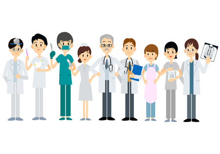 Medical team, Vector illustration of doctor character set Vettoriali