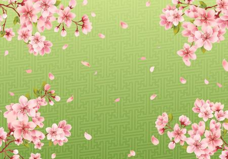 Cherry blossom sakura on Japanese matcha Illusztráció