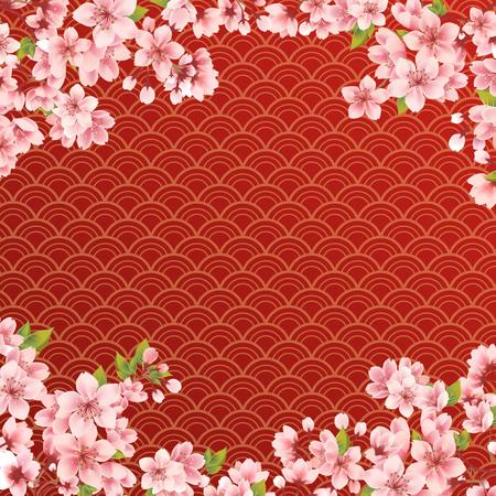 Sakura on wave red background
