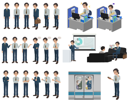 Set of businessman character design with a different poses on a white background