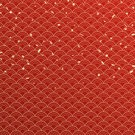 Wave seamless pattern and gold confetti