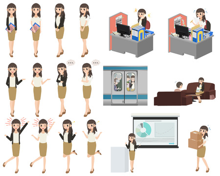 Set of business woman character design with a different poses on a white