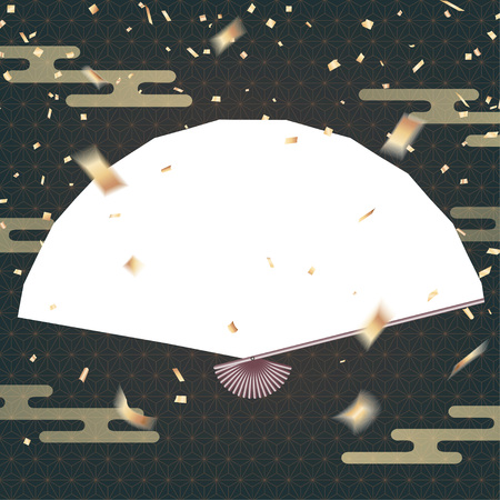Blank handheld Japanese fan on celebration  with golden confetti Vettoriali