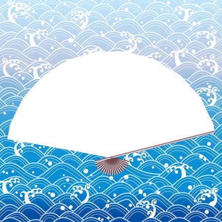 Handheld Japanese fan on wave