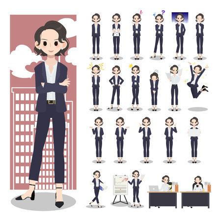 Business woman character set on a white
