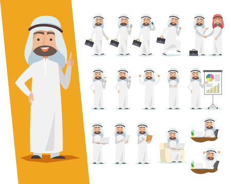 Set of Saudi businessman. Arab man character design with a different poses on a white Vettoriali