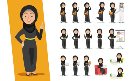 Set of Arab woman character design with a different poses on a white Vettoriali