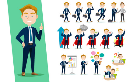 Businessman character set on a white