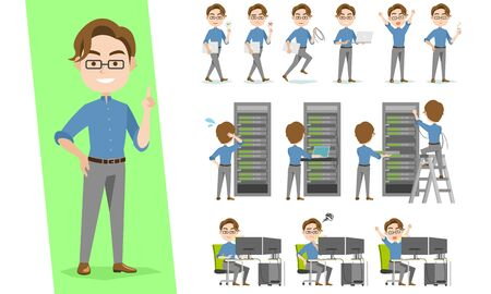 IT engineer character set working in data center of rack servers