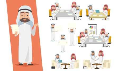 Set of Saudi businessman. Arab man character design with the meeting, dealings, and advertising situation on a white background. Vettoriali