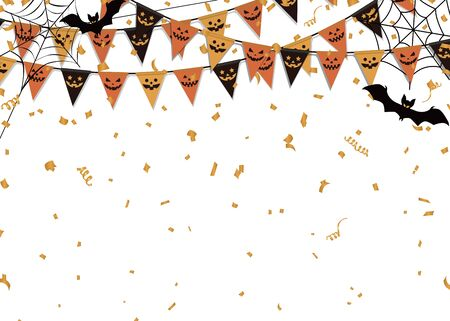 Halloween party background. Party flag, spider web and bat. Vettoriali