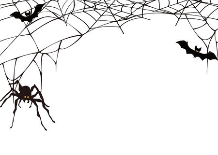 Halloween party background. Black spider and torn web.