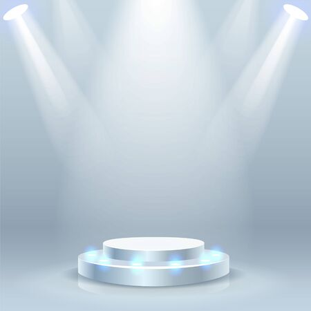 White stage podium with spotlight background