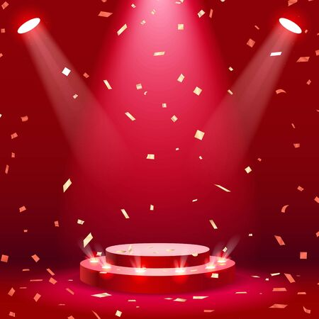 Red stage podium with spotlight and confetti