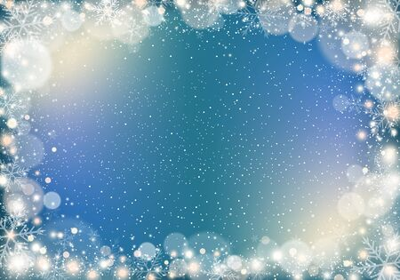 Winter background with snowflakes and light