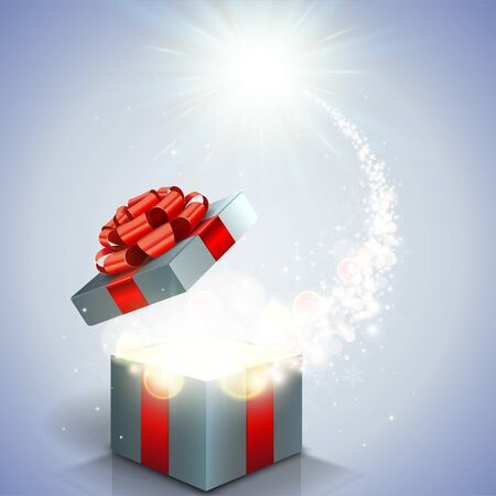 Open gift box and magical light
