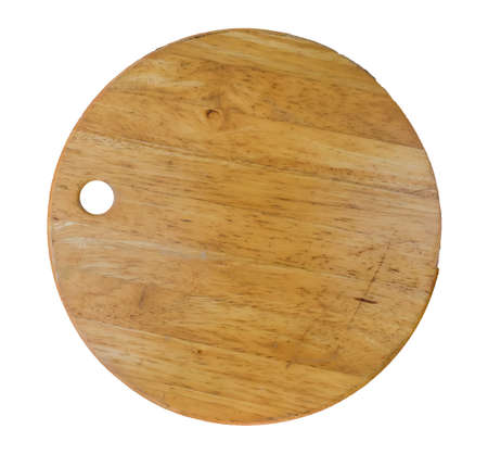 dark wooden round empty board isolated on white background, top view. With clipping path.