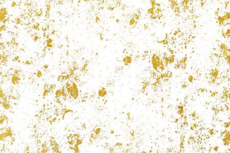 Spruzzi d'oro Texture. Elemento di design del tratto di pennello. Motivo di sfondo dorato grunge di crepe, graffi, scheggiature, macchie, macchie di inchiostro, linee Archivio Fotografico