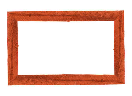 Wooden picture frame isolated on white background. Foto de archivo