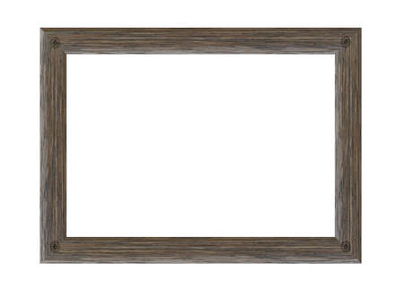 Old wooden picture frame isolated on white background.