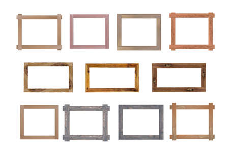 Set of Vintage wood picture frame isolated on white background.
