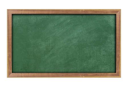 Leere grüne Tafel mit Holzrahmen isoliert auf weißem Hintergrund. Mit Kopienraum für Text.