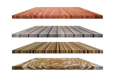 Set of wooden flooring isolated on white background. Banco de Imagens