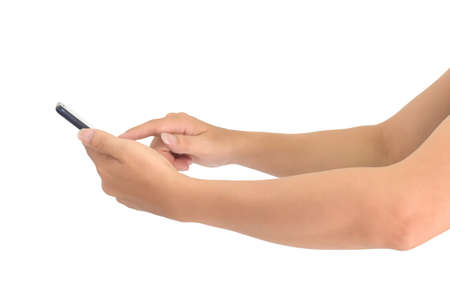 Side view, Hand holding and touching smart phone with blank screen, isolated on white background. Standard-Bild
