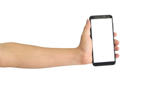 Hand holding black smartphone with blank screen, isolated on white background.
