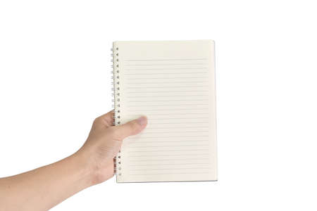 Design concept - Hand holding blank notepad isolated on white background.