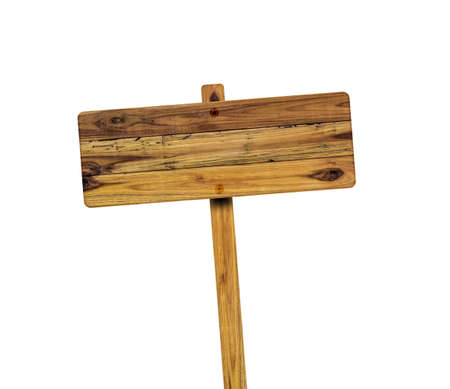 Wooden sign isolated on white background. Object with clipping path. Archivio Fotografico
