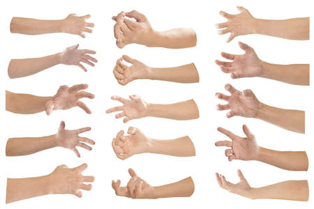 Collection of hand with finger bent isolated on white background. Object with clipping path. Stock Photo