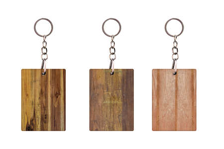 Set of Vintage Keychain with Wooden plank Isolated on a white background. Empty space for your Design