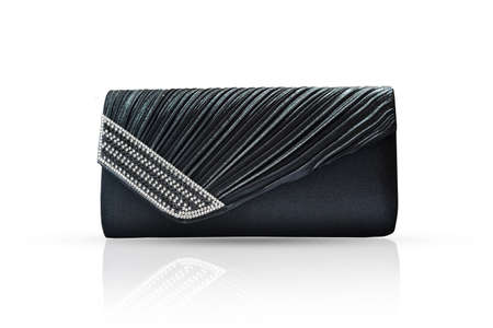 Fashion women black handbag clutch isolated on white background, with clipping path. Banque d'images