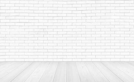 Vintage interior room with white wood floor and brick wall background