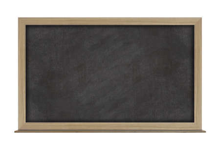 Empty black chalkboard with wooden frame isolated on white background. With copy space for text.