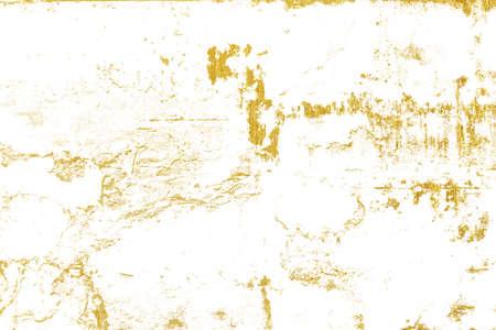 Grunge golden of cracks, scuffs, chips, stains, ink spots, lines on white background Standard-Bild