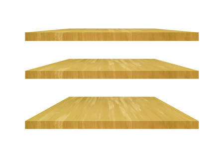Golden concrete tabletop or shelves Isolated on white background.