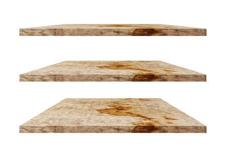 Empty vintage wooden shelf isolated on white background. Standard-Bild