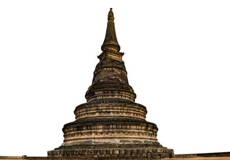 Ancient Pagoda isolated on white background. Chiang Mai Thailand. Standard-Bild