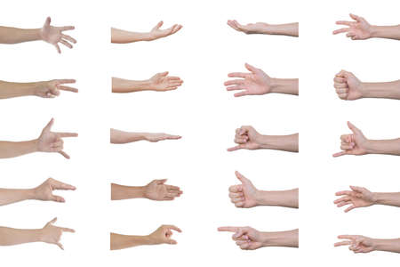 Set of man hands Isolated on white background with clipping path. Standard-Bild