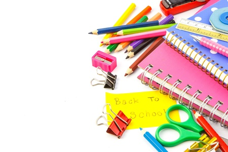 Colorful stationery set on white background photo
