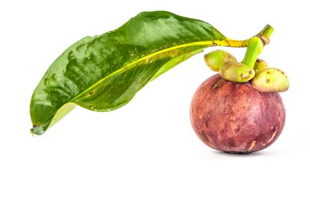 Mangosteen  with green leaf on white background photo
