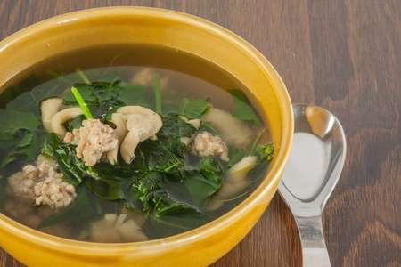 Soup ingredient are minced pork ,mushroom and gourd vegetable
