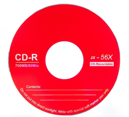 Red compact disk  for record data on white background