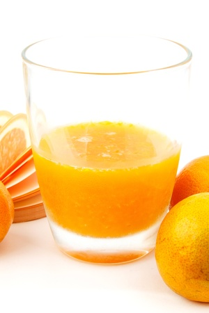 Sweet orange juice from fresh orage fruit Stock Photo