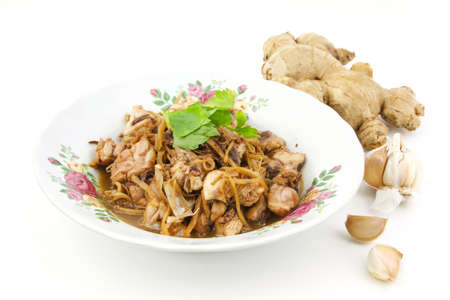 Stir fried chicken with ginger,hot and spicy