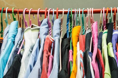 clotheshanger: Many clothes on clothes-hanger