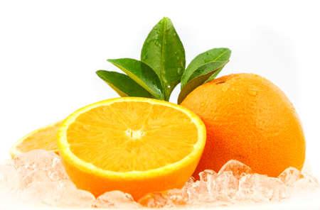 Fresh orange on ice for refreshment photo