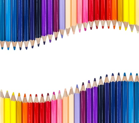 Colorful pencil arrange as curve on top and bottom on white background photo